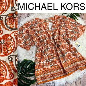 MICHAEL KORS Silk tie waist tunic top